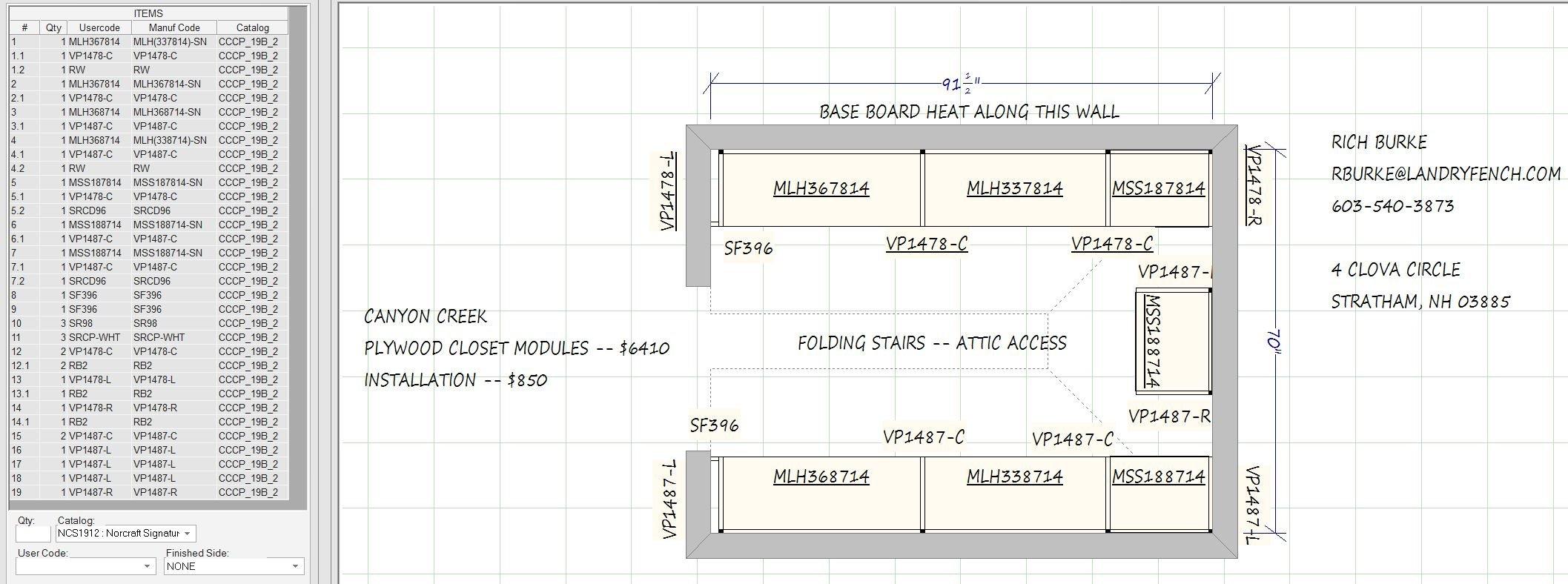 Parts List Floor Plan and Estimate